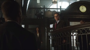 What the Little Bird Told Him- Commissioner Loeb, played by Peter Scolari, questions Gordon's presence at the GCPD