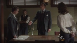 Snafu- Jarvis delivers the terms and conditions of Howard Stark's confession to the SSR