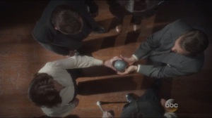 Snafu- Peggy gives Dooley the orb containing Steve Rogers' blood