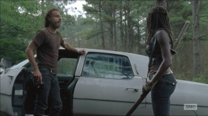 The Distance- Rick tells Michonne that they're going with Aaron