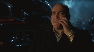 The Fearsome Dr. Crane- Maroni gets a call from Penguin as he's being crushed