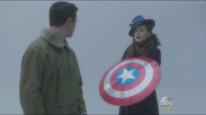 Valediction- Vision, Howard sees Peggy with Steve's shield