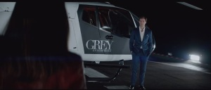 Fifty Shades of Grey- Anastasia shows up at Christian's helicopter