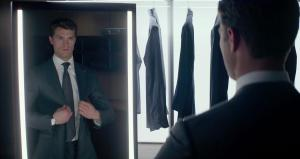 Fifty Shades of Grey- Christian examines himself in the mirror
