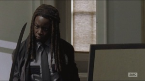 Forget- Michonne in her constable uniform