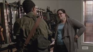 Forget- Sasha checks out a gun, Olivia asks her about bringing back a boar's leg