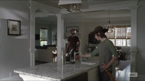 Remember- Carl turns on the water inside one of the homes