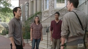Remember- Glenn, Tara, and Noah about to go scouting with Nicholas and Aiden, played by Daniel Bonjour