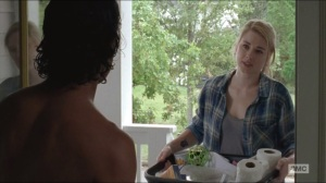Remember- Jessie Anderson, played by Alexandra Breckenridge, brings supplies to Rick