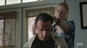 Remember- Jessie cuts Rick's hair