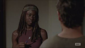 Remember- Michonne sees Rick without his beard