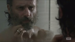 Remember- Rick prepares to shave the beard