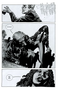 Try- The Walking Dead #75, Michonne knocks down Rick