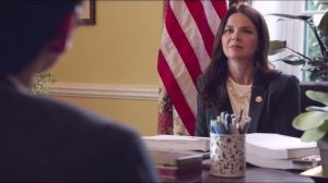East Wing- Dan and Jonah speak with speak with Congresswoman Angstrom, played by Amy Wilson