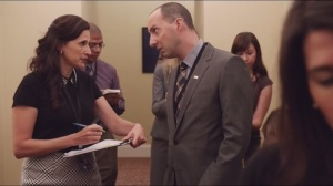 East Wing- Gary speaks with White House social secretary Patty, played Michaela Watkins