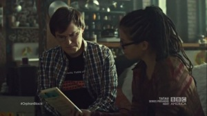 The Weight of This Combination- Cosima shows Scott the book on Dr. Moreau from Duncan