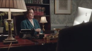 Storms and Pancakes- Selina speaks with North Carolina Governor Cecile, played by Carolyn Mignini