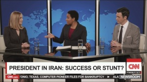Tehran- Amy and Dan on CNN, Dan mentions glacé cherries