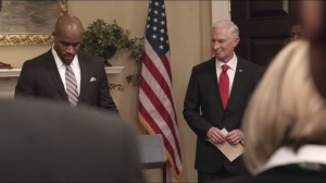 Tehran- Freddy Wallace, played by LaMonica Garrett, speaks with Vice President Doyle at his side