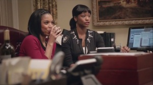 Election Night- Sue and her friend, Kim, played by Susan Kelechi Watson