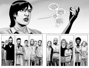 The Walking Dead #142- Maggie addresses the Hilltop citizens after Gregory's execution