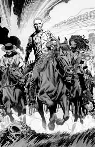 The Walking Dead #142- Rick, Michonne, Andrea, and Dante ride off to find Carl
