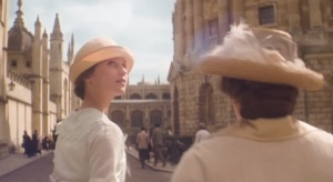 Testament of Youth- Vera with Aunt Belle, played by Joanna Scanlan, to take her entrance exam