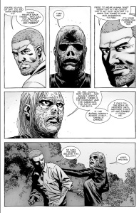 The Walking Dead #144- Alpha tells Rick about how the Alpha must assert itself to prevent chaos