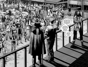 The Walking Dead #145- Rick addresses the people to delivre bad news