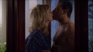 Through a Glass, Darkly- Libby and Paul kiss in the shower