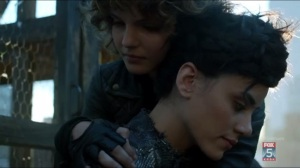 By Fire- Selina hugs Bridgit