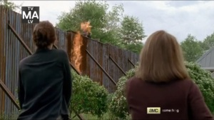 JSS- Molotov cocktails hit the walls of Alexandria- AMC, The Walking Dead