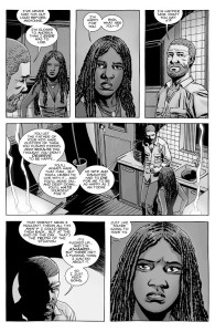 The Walking Dead #147- Rick tells Michonne that Lori and Judith had to die for him to be happy