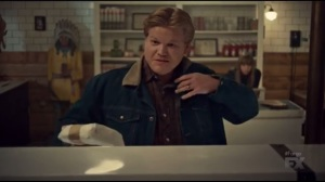 Waiting for Dutch- Ed Blomquist, played by Jesse Plemons, prepares to leave the shop