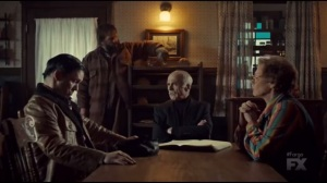 Waiting for Dutch- Gerhardt family meeting- Dodd with Floyd, played by Jean Smart, Otto, played by Michael Hogan, and Bear, played by Angus Sampson