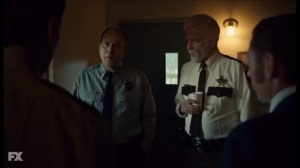 Did You Do This, No, You Did It- Chief Gibson, played by Terry Kinney, speaks with Hank, Lou, and Ben about Floyd