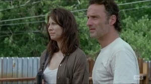 Heads Up- Rick and Maggie talk atop the wall
