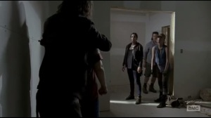Start to Finish- Alpha Wolf holds Denise hostage as Tara, Eugene, and Rosita enter