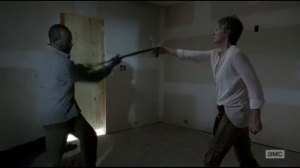 Start to Finish- Morgan knocks the knife out of Carol's hand