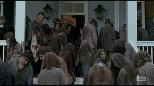 Start to Finish- Rick and company on Jessie's porch, surrounded by walkers