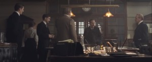 Suffragette- Arthur Steed, played by Brendan Gleeson, and other inspectors talk about the women identified as suffragists
