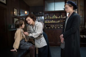 Suffragette- Maud takes her son, George, to visit the Dr. Edith Ellyn, played by Helena Bonham Carter