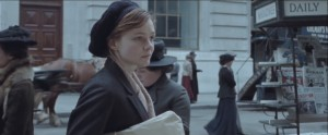 Suffragette- Maud Watts, played by Carey Mulligan, window shops