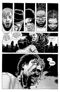 The Walking Dead #100- Glenn's still alive after being hit with Lucille