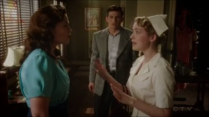 A View in the Dark- Violet, played by Sarah Bolger, invites Peggy to join her and Daniel for dinner