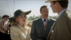 The Lady in the Lake- Jarvis and Peggy greet Calvin Chadwick, played by Currie Graham, and his wife, Whitney Frost, played by Wynn Everett