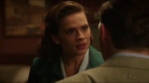The Edge of Mystery- Peggy doesn't answer when Sousa asks if she'd let him get shot