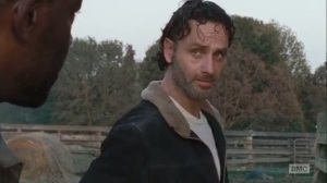 East- Rick tells Morgan that Michonne took his protein bar