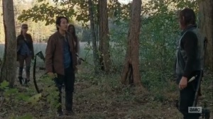 East- Rosita, Glenn, and Michonne find Daryl and try to convince him to return