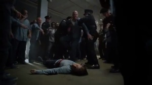 Prisoners- Fight during movie night, Jim is stabbed
